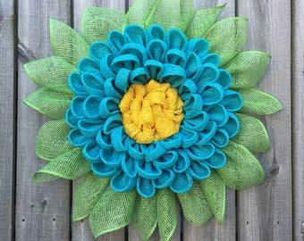 Burlap Wreath, Dahlia Wreath, Front Door Wreath, Coastal Wreath, Burlap Decor, Summer Wreath, Handmade Wreath, Wreath For Front Door