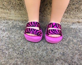"S.O. Doll Shoes. 14.5"" doll shoes. Pink zebra. Wellie wisher shoes. Stocking stuffers!"