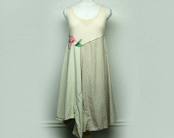 L/XL Shabby Chic Summer Dress, Funky Artsy Long Cotton and Linen Dress, Mori Girl Style Eco Upcycled Clothing by Primitive Fringe