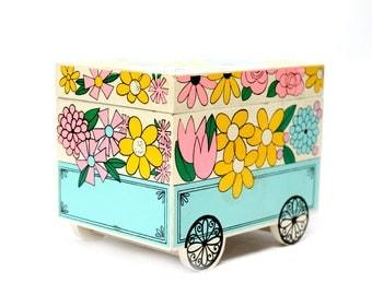 Flower Power retro mod jewelry music box flower cart 60s 70s