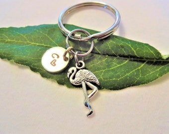 FLAMINGO KEYCHAIN with initial charm - Please see all photos to order - One flat rate shipping in my shop :)