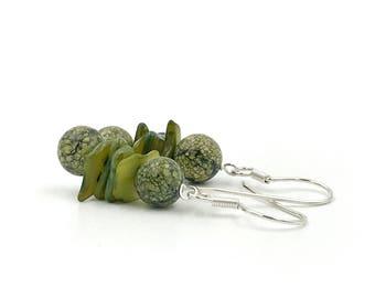 Free Shipping,Green Jasper Earrings,sterling silver earrings,green moss jasper earrings,jasper jewelry,handmade earrings,jasper earrings