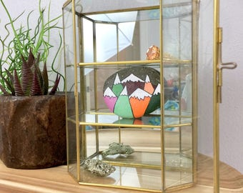 Vintage Brass Mirrored Hanging Cabinet