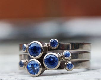 Sapphire stacking ring; white gold sapphire ring; sapphire engagement ring