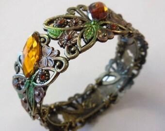 Vintage Metal Bangle Bracelet Metal Rhinestone Butterfly Costume Jewelry Women's Fashion Accessories Casual