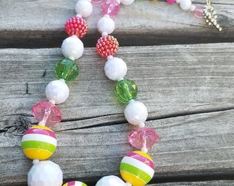 Bright Color Chunky Necklace Yellow, Green, Raspberry, Bubblegum Beads Toddler Necklace Chunky Bead Baby, Child, Photo Prop