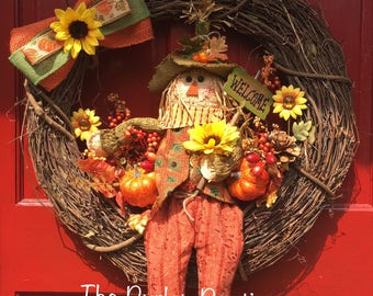 Large Scarecrow Fall Grapevine Wreath