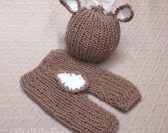 Newborn deer outfit knit deer set, newborn boy photo outfit, deer photo props, deer hat and pants Knit pants and hat