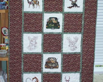 "Sportsman/Deer Embroidered Couch/ Lap Quilt.  68"" X 46"""