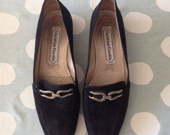 Vintage Christian Coralie suede loafers, size 38.