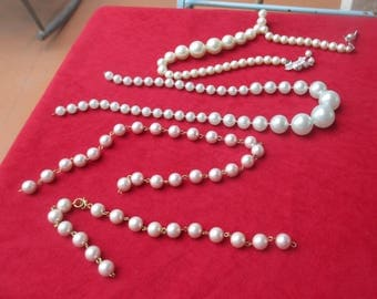 Lot Of Retro Broken Faux Pearl Necklaces White Pale Pink & Blue One Marked Japan