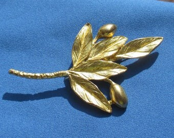 Vintage Olive  Branch With Berries Marked Greece