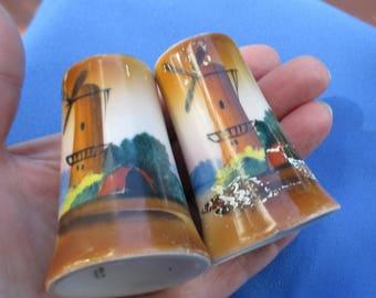 Vintage Windmill Salt & Pepper Shakers Japan TLC