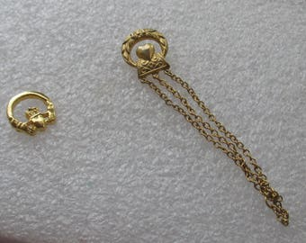 Vintage Claddagh & Heart Dangling Chain Lapel Pins