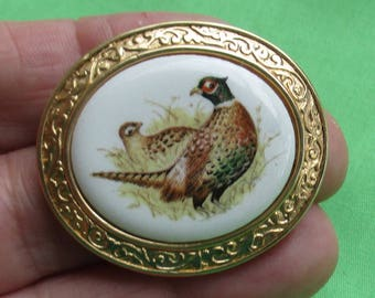Vintage Avon Pheasant Brooch Pendant Combo