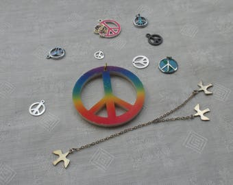 Lot Of Salvaged Peace  Sign Pendants Charms Doves On Chain Dangle