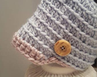 Baby Boy Crocheted hat and Bootie Set.