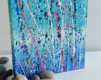 Original Colourful Art Abstract Splatter Painting on Canvas 20x20cm Made by Alicia Lee - Devon
