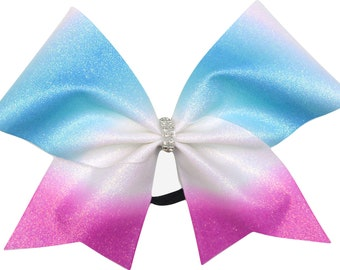 Blue and Magenta Pink Ombre Cheer Bow