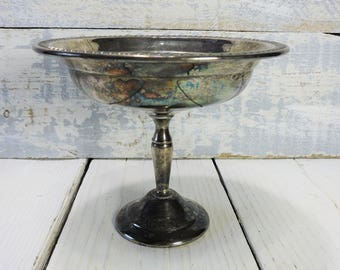 Pedestal Bowl Silver Plate Tall Silver Plate Candy Bowl Bridal Shower Gift, Wedding Gift, Trinket Dish Vintage Silver Plate Compote Dish