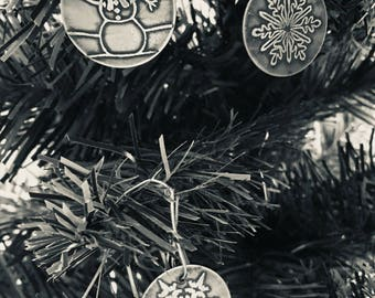Etched Sterling Silver Christmas Tree Ornaments