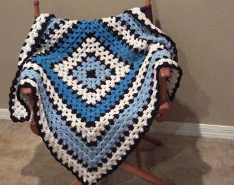 Black and Blue Baby Blanket