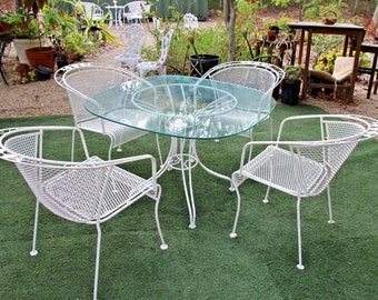Vintage Patio Set Five piece Iron Clear Glass top Table Four Rose theme Chairs Insured safe nationwide shipping available