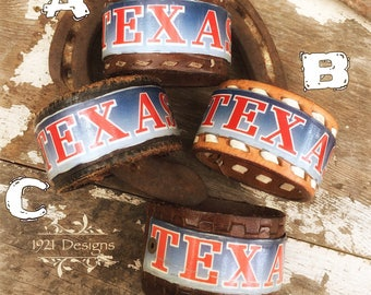 Texas license plate leather belt cuffs