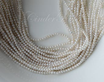 """Teeny Tiny Seed Freshwater Pearls,2-3 mm Potato Round/Oval/Corn Freshwater Pearl Seed Beads,White Freshwater Pearls with Gray Hue, 15.5"""""""