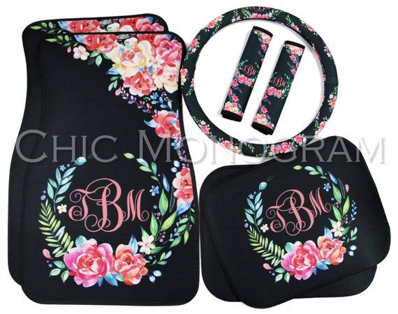 Classy Black Floral Car Accessories MIX & MATCH Car Floor Mats Steering Wheel Cover Seat Belt Covers Personalized Custom Monogram Carmats