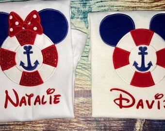 Disney Cruise life preserver mouse ears - Custom Cruise Shirts- DCL Shirts - Disney Family Shirts