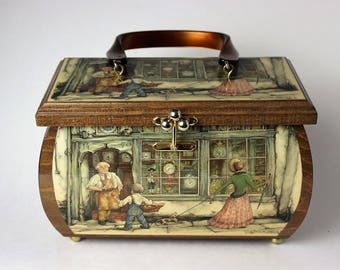 Lovely vintage wooden box handbag, with Anton Pieck decoupaged street scenes and a Lucite handle