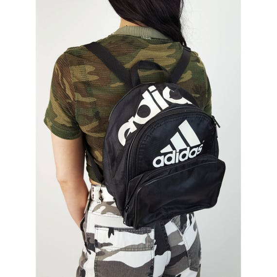 Adidas Black Mini Backpack - Small Health Goth Bookbag Satchel - Black and White Logo Branded Three Stripes Purse