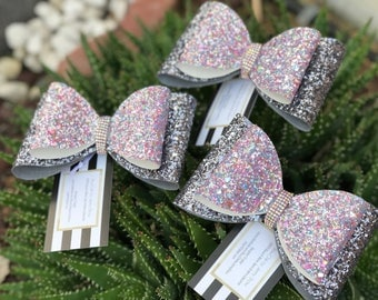 Cotton Candy glitter tailless cheer bow