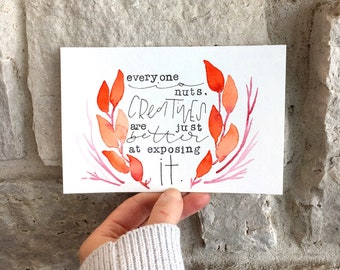 """4x6 Original Hand Lettered Watercolor """"Everyone is Nuts"""" Scene"""