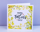Classic Fathers Day Card, nature inspired, square card, illustrated