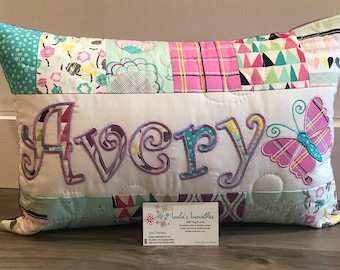 Art Gallery Playing Pop floral dums gum, pillow case with name. 12x18inch