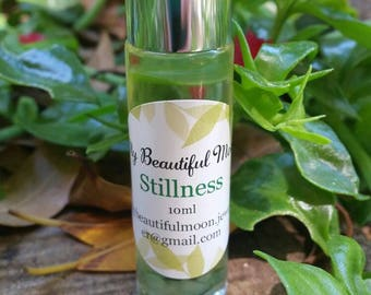 Stillness organic essential oil roller blend,peace,negative energy,gift for her,girlfriend,mothers day,mum,calming, Reiki crystal infused