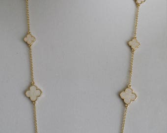"""Gold Clover Long Necklaces,36"""" Long, White clover, gift for her,Valentine's/Mother's day gift,four leaf clover"""
