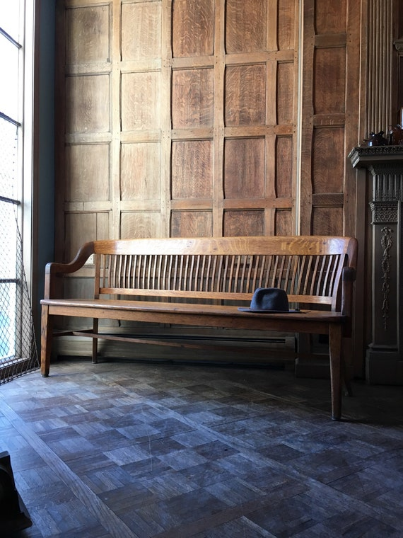 Antique Wood Bench, Oak Deacons Bench, Wood Entryway Bench