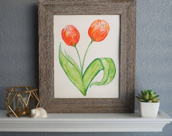 Watercolor Art print - Red Tulips - Wall art tulips - Flower art - Housewarming Hostess gift - Tulip art - Home decor - Birthday gift