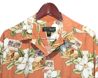 Tori Richard Multicolor Burgundy Pink Green White Flower Floral Print 100% Cotton Hawaiian Shirt L Size L