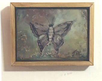 Moth no.2,   Miniature ACEO sized encaustic wax painting.  Framed.