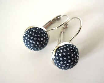 "Earings silver metal "" Little japanese peas navy blue back  """