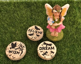 Miniature Stepping Stones, Fairy Garden Path, Wish, Dream, Believe