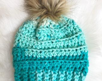 Child Fur Pom Hat Teal