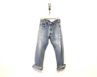 1990s Vintage Worn Distressed LEVIS / Button Fly 501xx 36 x 33 / Denim Blue Jeans