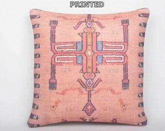 kilim pillow bohemian prints 20x20 tribal prints pink decorative pillow stripe throw pillow coral moroccan rug patterned kilim pillow 79-50