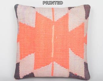 orange throw pillow kelim fabric turkish kilim pillow kilim cushion throw pillow floor rustic pillow throw pillow turkish pillow case 166-40