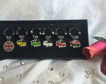 VW camper wine glass charms